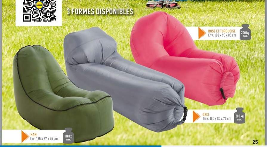 Sofa Gonflable Crivit Airlounge Differents Coloris