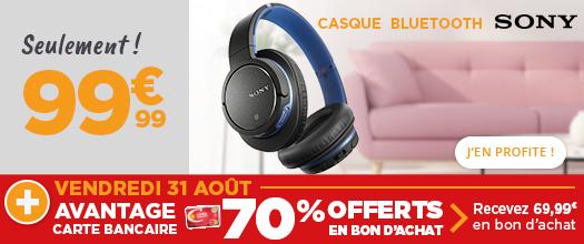 Carte Géant Casino Casque Sans Fil Sony Mdrzx770bnlce7 Bluetooth