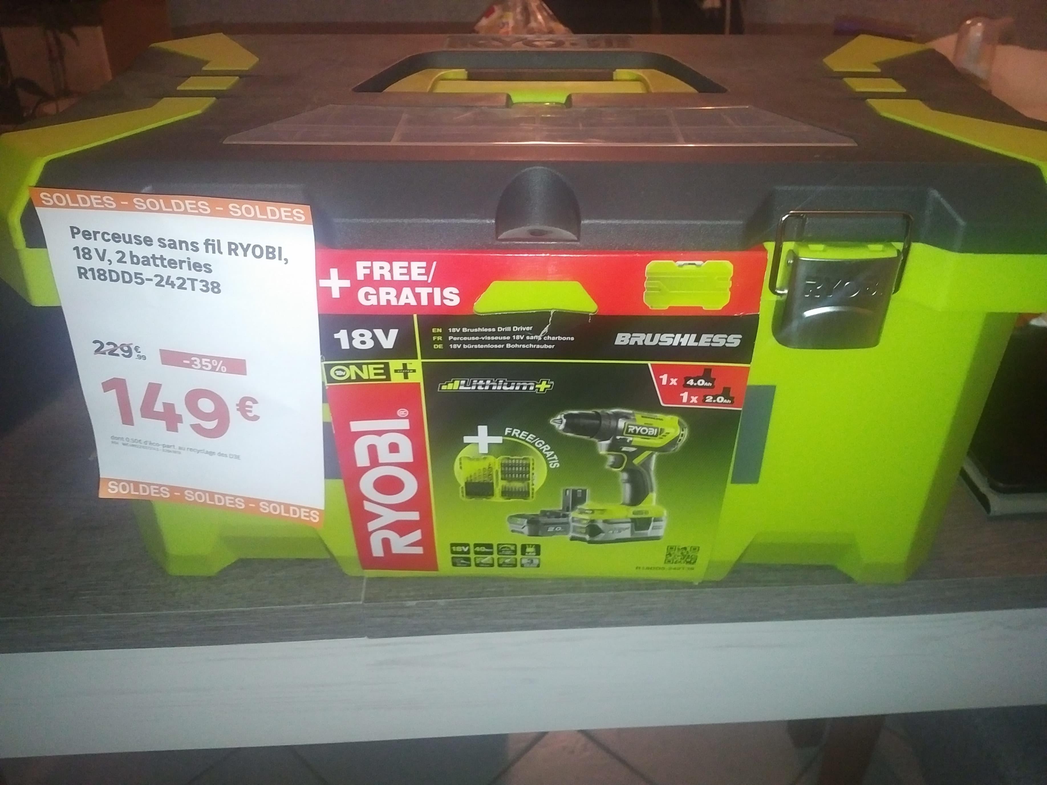 Perceuse Sans Fil Ryobi 18v2batteries R18dd5 242t38 Leroy