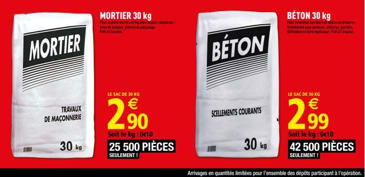 sac de b ton mortier pr t a l 39 usage 30kg. Black Bedroom Furniture Sets. Home Design Ideas