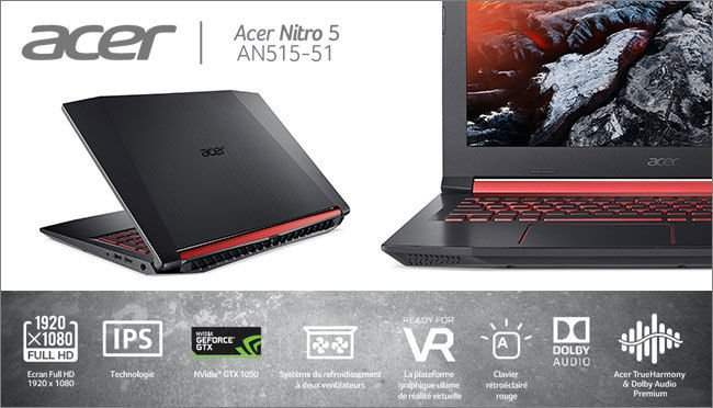 pc portable 15 6 full hd acer nitro 5 an515 51 53ht i5 7300hq 1 to hdd 6 go ram gtx 1050 2. Black Bedroom Furniture Sets. Home Design Ideas
