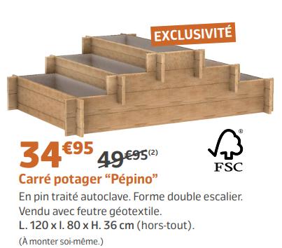 carr potager p pino double escalier 120x80x36cm. Black Bedroom Furniture Sets. Home Design Ideas