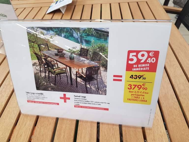 Table de jardin aluminium eucalyptus Louga et 6 chaises – Dealabs.com