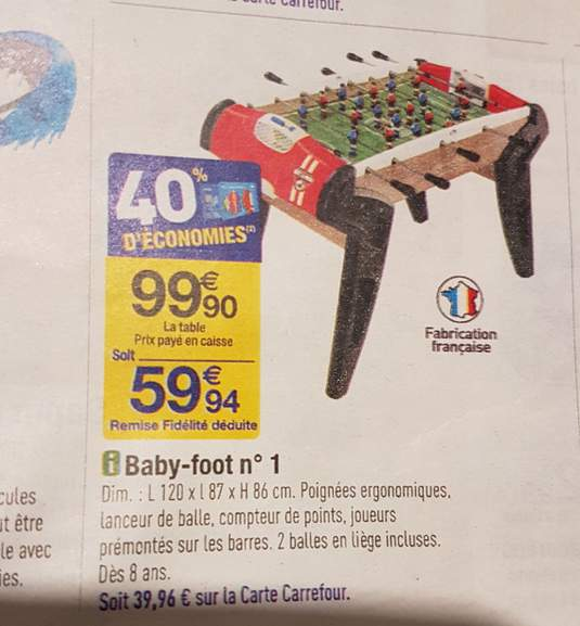 baby foot smoby carrefour