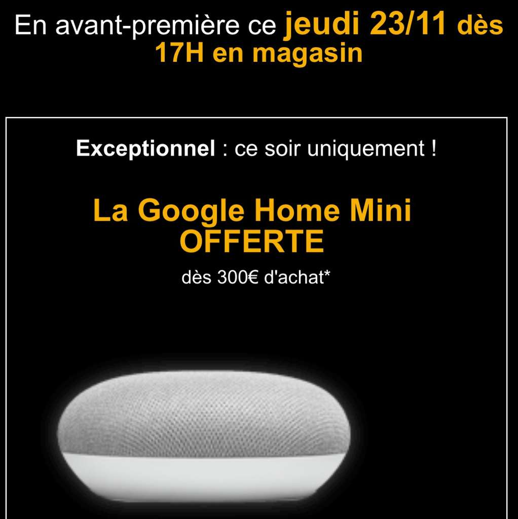 google home mini offerte d s 300 d 39 achat. Black Bedroom Furniture Sets. Home Design Ideas