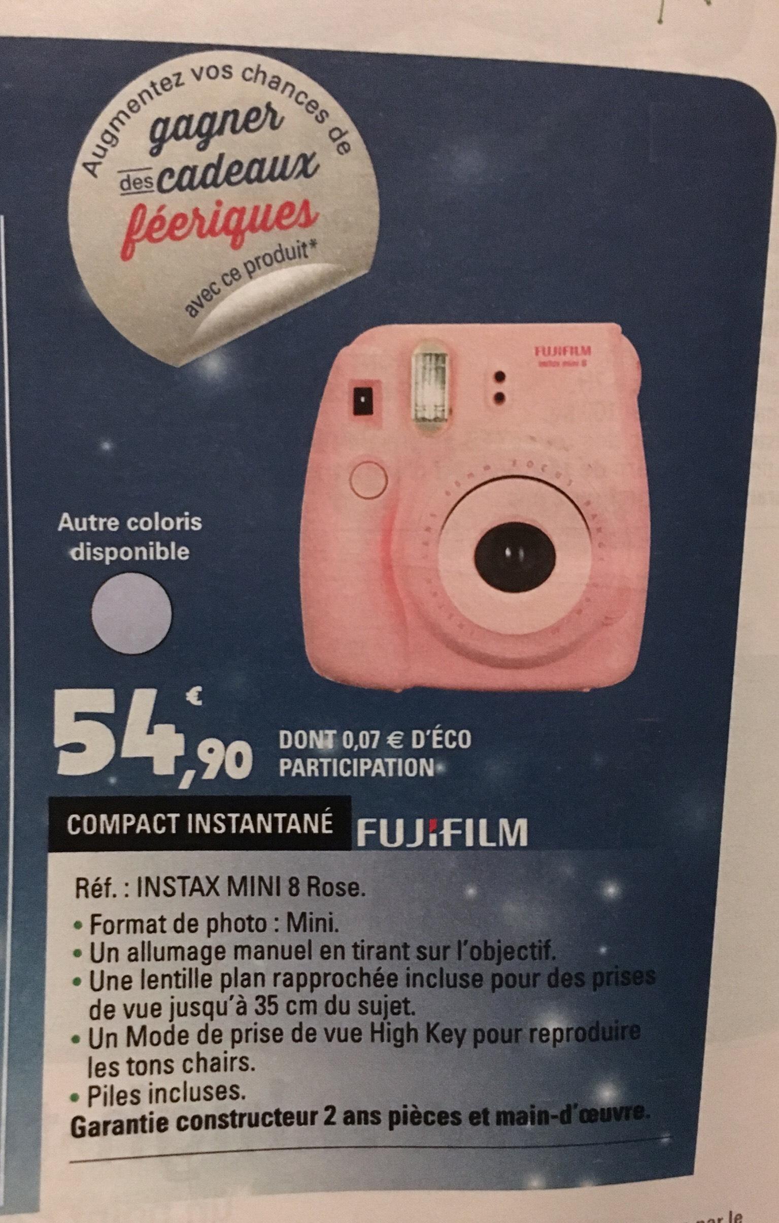 Appareil Photo Fujifilm Instax Mini 8 Bleu Ou Rose Leclerc