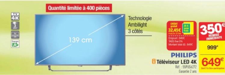 tv led 55 philips 55pus6272 avec ambilight 3 c t s uhd 4k smart tv hdr. Black Bedroom Furniture Sets. Home Design Ideas