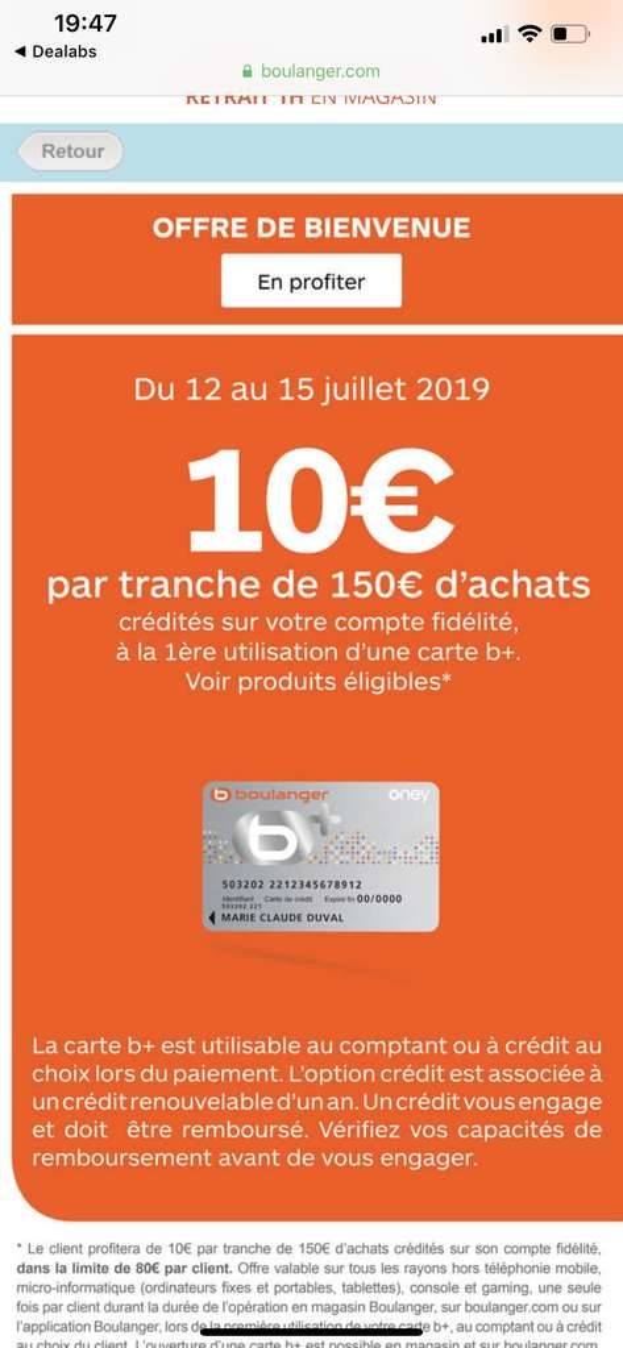 Carte Boulanger Reduction.Carte B 10 De Reduction Par Tranche D Achat De 150 Sur