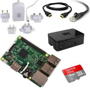 Kit de démarrage Raspberry Pi - Raspberry Pi 3 + MicroSD - 16 Go + Bloc alimentation Raspberry Pi (avec adaptateur secteur) + Coque officielle + Câble HDMI - 2 M et câble ethernet - 2 M