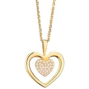 Collier Cœur Tendresse Or Jaune et Diamants + Chaîne offerte