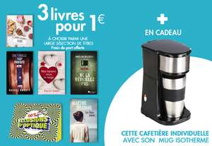 Pour l'achat de 3 livres pour 1€ parmi une sélection = une cafetière et mug offert