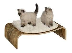 Canapé pour chat Vesper Lounge - Noyer et/ou repose pied, plateau petit dej, bureau portable...