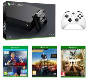 Console Microsoft Xbox One X (1 To) + 2ème Manette (Blanc) + State of Decay 2 + PES 2018 + PlayerUnknown's Battlegrounds (PUBG)