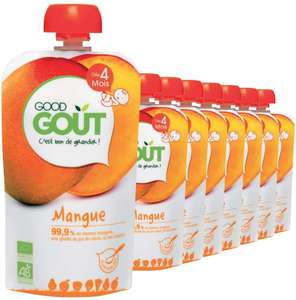 Lot de 8 Gourdes de Purée de Fruits Bio à la Mangue Good Goût - dès 4 Mois 120 g - Pack de 8