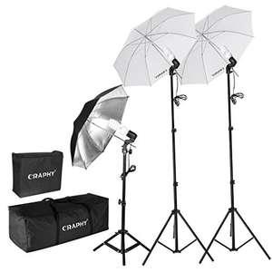 Kit Studio Photo Graphy - 3 Parapluies + 3 Trépieds + 2 Sacs de Rangement (Vendeur Tiers)