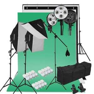 Sélection de kits d'éclairage Studio Photo en promotion - Ex :Kit Studio Photo complet avec Softbox + 12x45W Ampoules + Trépieds + 3 Fonds + Support de Fond d'Écran + Sac de Transport (vendeur tiers)