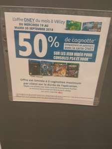 [Carte Auchan Oney] 50% crédités sur la carte de fidélité pour l'achat de jeux vidéo Sony PS4 ou Microsoft Xbox One (5 cagnottes max.) - Vélizy-Villacoublay (78)