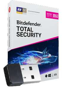 Abonnement Bitdefender 2019 Total Security - 2 ans, 10 postes + Dongle WiFi offert