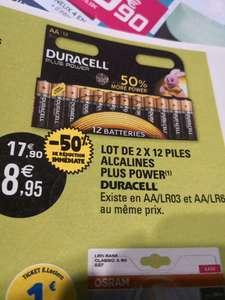 Lot de 2 packs de 12 piles AA/LR03 ou AA/LR6 alcalines Duracell Plus Power