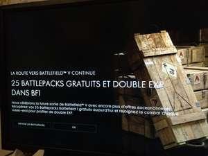 25 battlepacks offert pour Battlefield 1 lors de la connexion au jeu et double xp