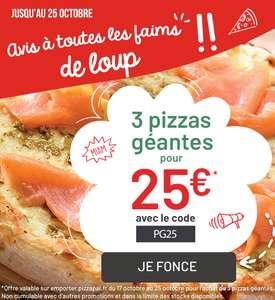 3 Pizzas géantes à emporter pour 25€