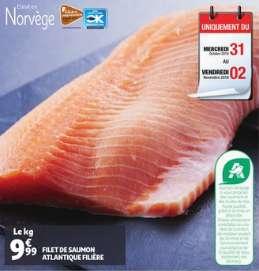 Filet de saumon Atlantique filière - Le Kg (Origine Norvège)