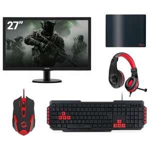 Pack Gamer - Ecran Philips 27'' LED 273V5LHSB/00 + Tapis de souris ATECS + Casque Legatos + Souris Gaming XITO + Clavier LUCIDIUM