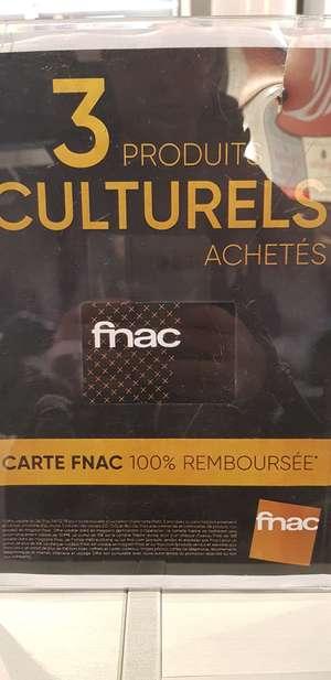 Carte Fnac 100% remboursée pour 3 produits culturels achetés