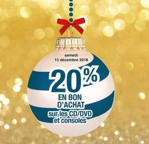 20% offerts en bon d'achat sur les DVD et les consoles - Ermont (95)