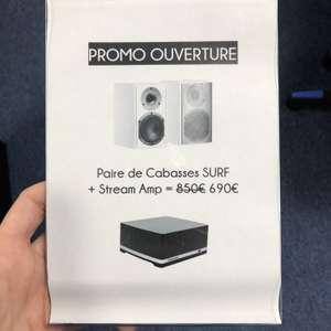 Sélection d'offres promotionnelles - Ex : Pack paire d'enceintes Cabasse Surf + amplificateur audio Stream Amp - Axe-info Lannion (22)