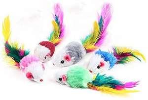 Pack de 5 fausses souris colorées pour chat (vendeur tiers)