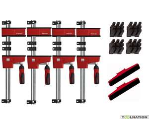 Pack de 4 serre-joints Bessey Krev 100 + accessoires (ToolNation.nl)