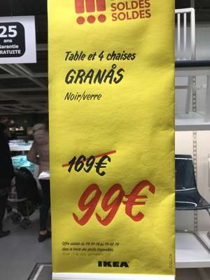 Table et 4 chaises Granas (noir/verre)  - Tours (37)