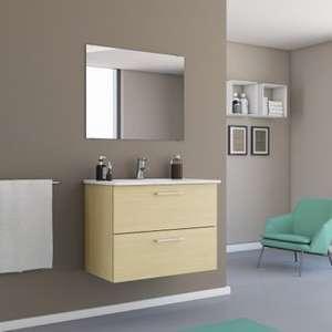 Caisson meuble sous-vasque - l.80 x H.60 x P.45 cm, chêne - Queven (56)