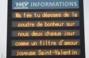 Diffusion gratuite de messages sur les panneaux lumineux à l'occasion de la St Valentin
