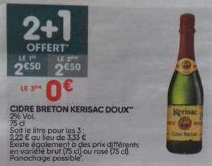 Lot de 3 bouteilles de cidre KERISAC - 75cl, Doux rose ou Brut