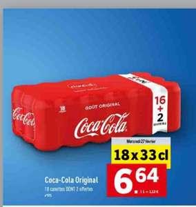 Pack de 18 canettes de coca cola - 33cl