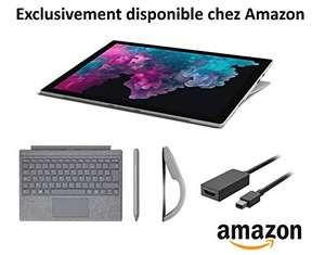 "Tablette 12.3"" Microsoft Surface Pro 6 Platine + Clavier conversation signature Platine + Stylet Platine + Souris Arc Platine + Câble HDMI"