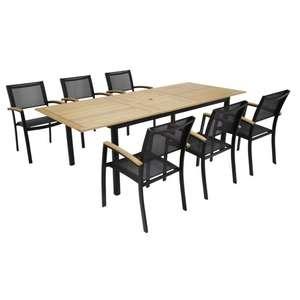 Table de jardin aluminium eucalyptus Louga et 6 chaises
