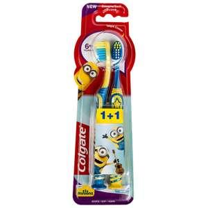 Lot de 2 brosses à dents + 6 ans Colgate Minions
