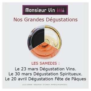 Dégustation de vins et de spiritueux gratuite - Monsieur Vin (Lille, Lomme, Mouvaux, Marcq-en-Barœul et Saint-Omer)