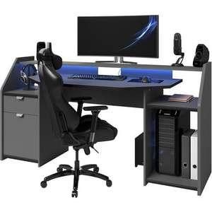 Bureau Spécial Gaming avec Large Plateau & LED - 180 cm