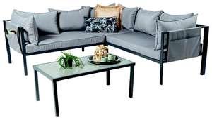 Salon bas de jardin acier avec coussins et table basse - 4 pièces