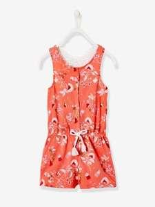 Sélection d'articles en promotion - Ex : Combi-short fille rayé avec papillon en macramé - rose corail imprime