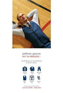 [De 18 h 30 à 22 h 30] Sélection d'articles en promotion - Ex : costume à 120€ - Anthony Garçon Paris 8ème (75)
