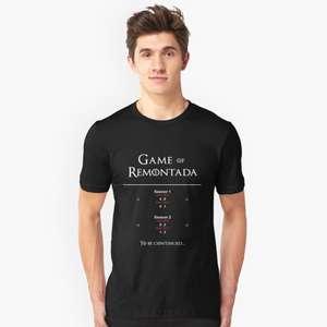 """11% de réduction sur tout le site (Hors Exceptions) - Ex: T-Shirt noir motif """"Game Of Remontada"""""""