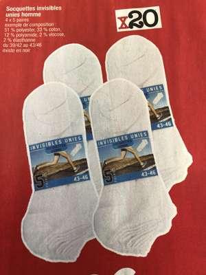 Lot de 20 paires de socquettes - Blanches ou noires, tailles 39 à 46 (59 / 62)