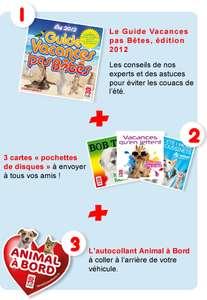"""Le kit """"Vacances pas Bêtes"""" à commander gratuitement (livret, carte pochette CD et autocollant)"""