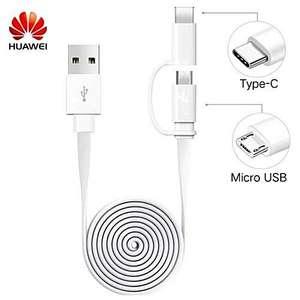 Câble de charge Blanc microUSB / Adaptateur Type-C Huawei Honor - 2A