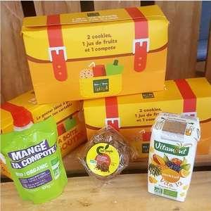 Boîte à goûter offerte avec 2 cookies au chocolat, compote de pommes et jus multifruits - sur présentation d'un tweet